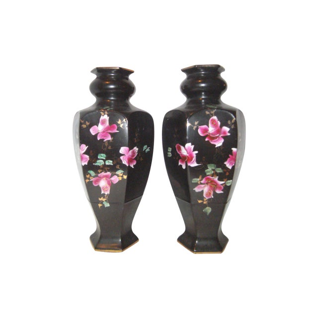 Black Hand Painted Vases - A Pair - Image 1 of 9