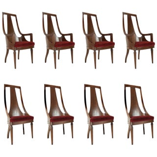 Set of 8 Tall Back Walnut Chairs For Sale