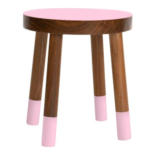 Poco Kids Chair in Walnut With Pink Finish For Sale
