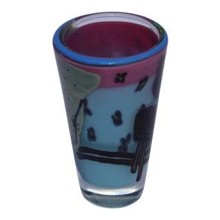 Ricky Bernstein Vintage Etched Art Glass Vase For Sale