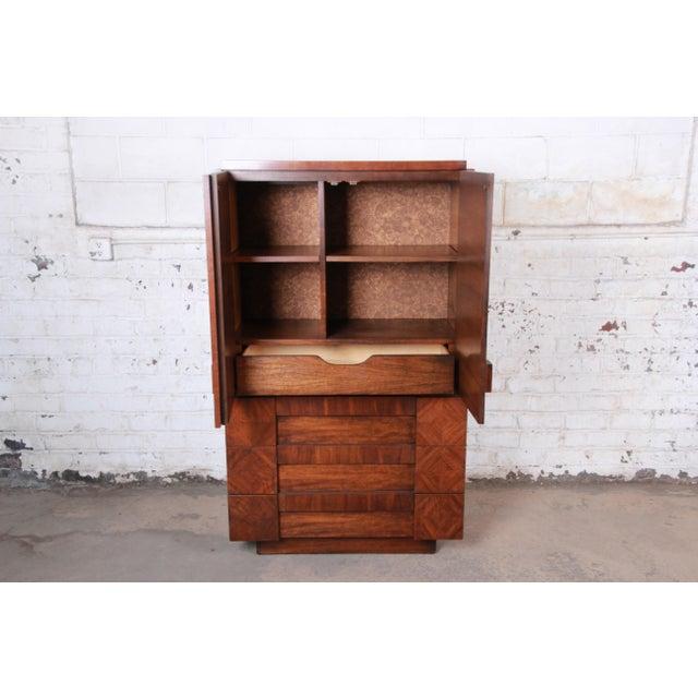 Lane Furniture Paul Evans Style Mid-Century Modern Brutalist Walnut Armoire Dresser by Lane For Sale - Image 4 of 13