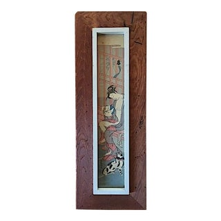 Asian Rustic Wood Framed Wood Block Print For Sale