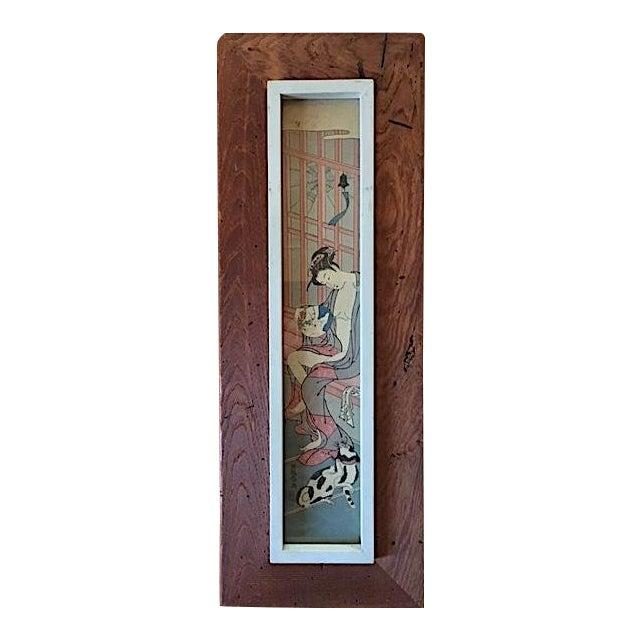 Asian Rustic Wood Framed Wood Block Print For Sale