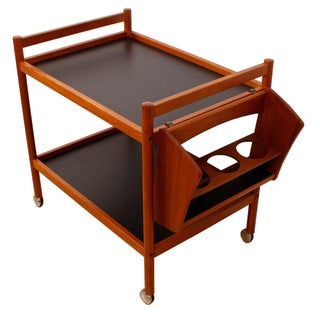 Danish Teak Bar Cart With Removable Wine Caddy