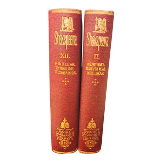Antique Traditional Red/Gold Classic Novels - a Pair For Sale