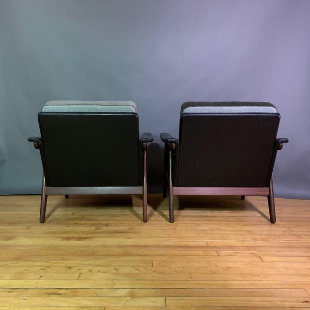 Pair Danish Design Black Naugahyde Wrapped Lounge Chairs For Sale In New York - Image 6 of 13