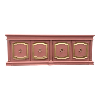 Hollywood Regency Style Pink & Gold Mid-Century Credenza For Sale