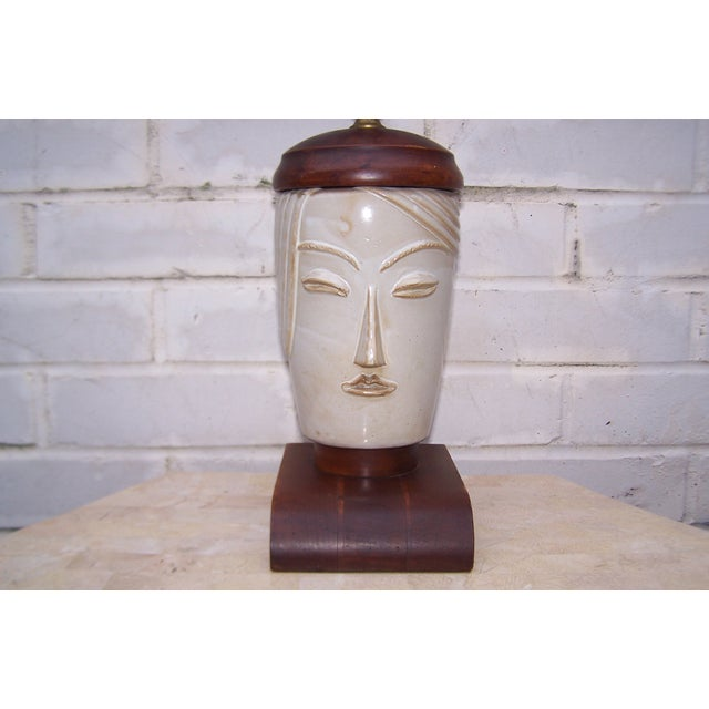 Vintage Art Deco Small Cubist Ceramic & Wood Lamp - Image 3 of 7