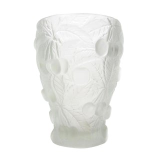 Cherry Relief Frosted Art Glass Vase For Sale