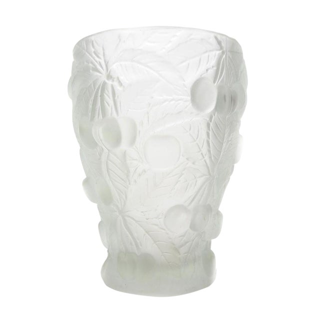 High End Cherry Relief Frosted Art Glass Vase Decaso