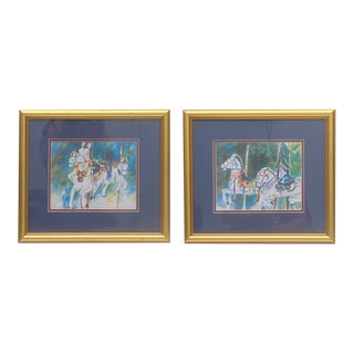 Horse Carousel Lithograph From Watercolor Painting in Gilt Frame – a Pair For Sale