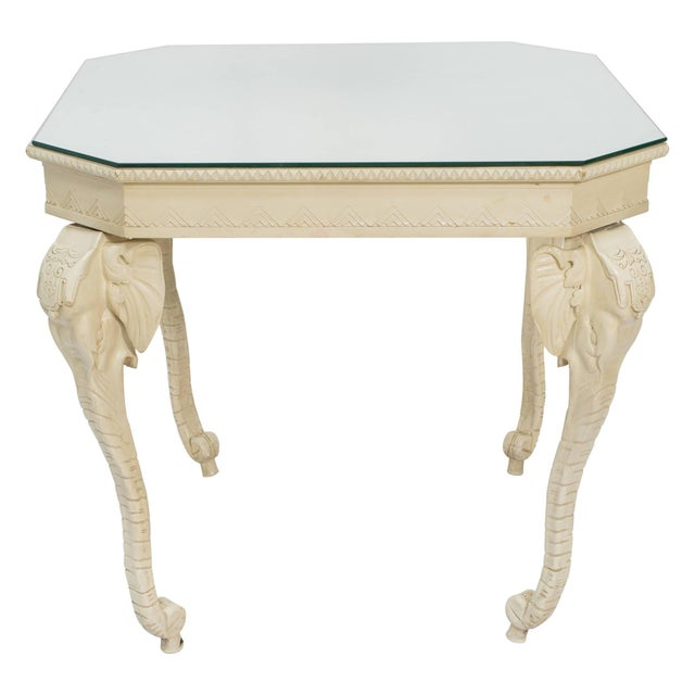 Wood Carved Painted Elephant Occasional Table For Sale - Image 7 of 7