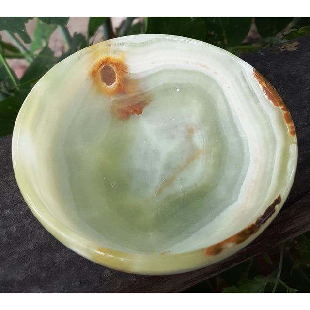 Light Green and Caramel Brown Onyx Marble Stone Bowl- Deco to Boho, Classic to Mid Century For Sale - Image 4 of 8