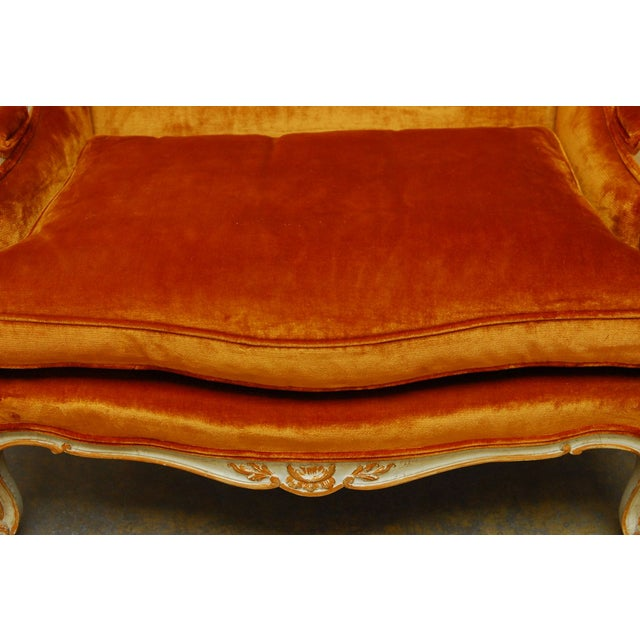 French French Louis XV Velvet Wingback Settee For Sale - Image 3 of 7