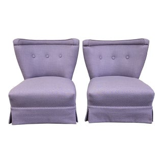 Mid 20th Century Custom Slipper Chairs- a Pair For Sale