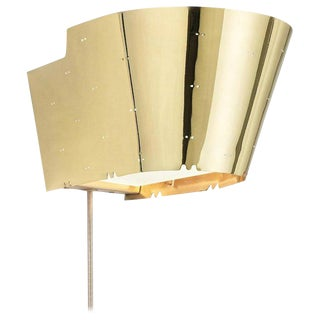 Paavo Tynell '9464' Perforated Brass and Glass Wall Light For Sale