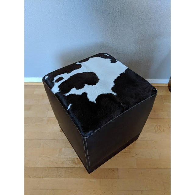 Modern Leather & Hide Low Stool For Sale - Image 4 of 6