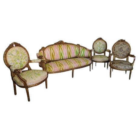 French Carved Giltwood Louis XVI Parlor Set - S/4 - Image 1 of 10