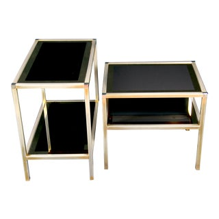 Mid 20th Century Mid-Century Belgo Chrome Gold Plated Sides Tables - a Pair For Sale