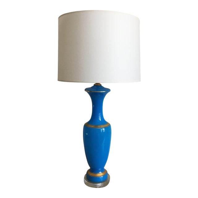 French Blue Opaline Lamp For Sale