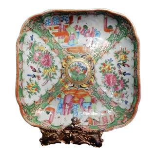 Antique Chinese Export Porcelain Rose Medallion Platter For Sale