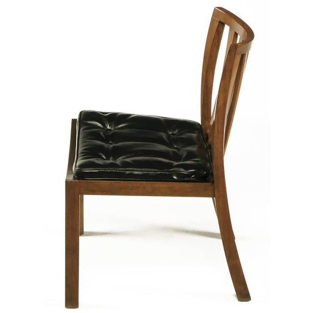 1950s Six Bert England Forward Trend Walnut and Leather Dining Chairs For Sale - Image 5 of 11