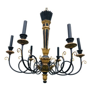 Mid-Century Empire Inspired Black and Gold Chandelier For Sale