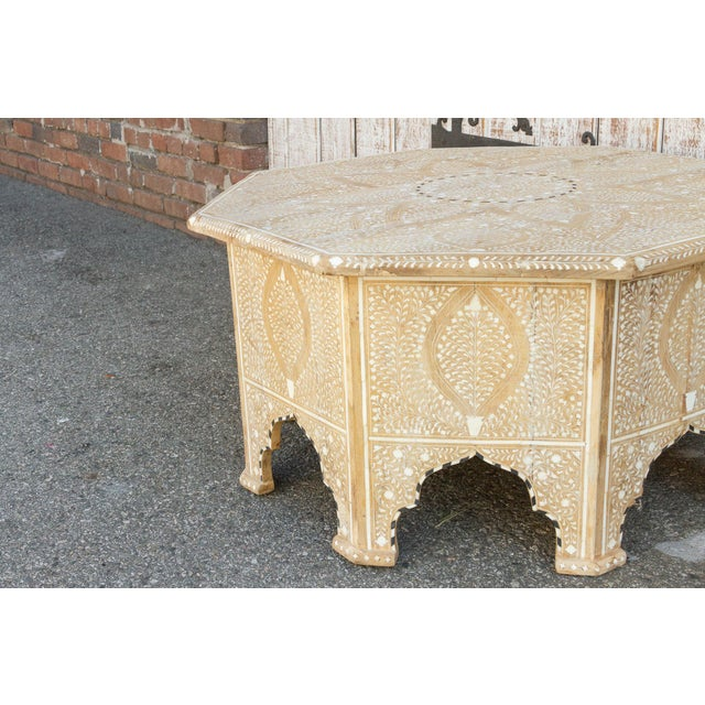 Charming Anglo Indian Farmhouse Lotus Inlaid Coffee Table For Sale - Image 11 of 13