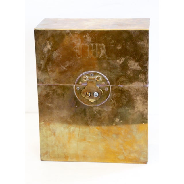 Offered is a handsome brass-clad letter box with script monogram. Decorative latch closure and black velvet lining. Areas...