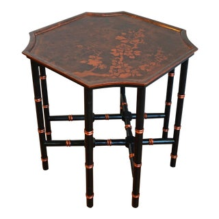 Asian Black & Copper Bamboo Side Table For Sale
