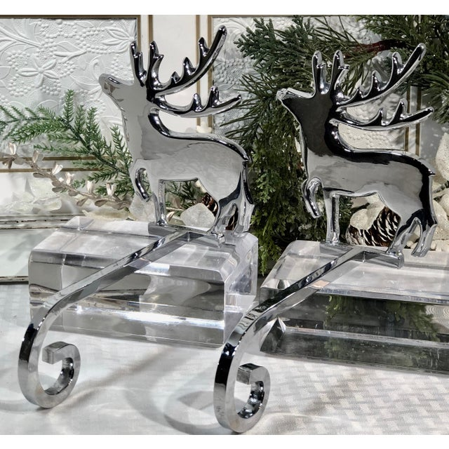 Early 21st Century Vintage Reindeer Silver Plated Stocking Hangers - Set of 2 For Sale - Image 5 of 9