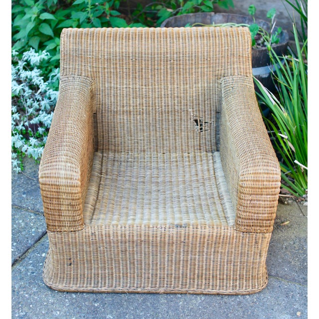 Wicker 1970s Vintage Sculptural Wicker Armchairs & Ottomans- 4 Pieces For Sale - Image 7 of 12
