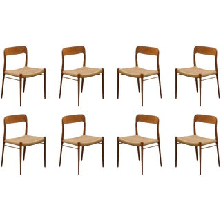 Stellar Original Set of Eight Moller #75 Chairs in Teak For Sale