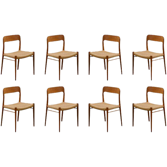 Lovely Stellar Original Set Of Eight Moller #75 Chairs In Teak | DECASO