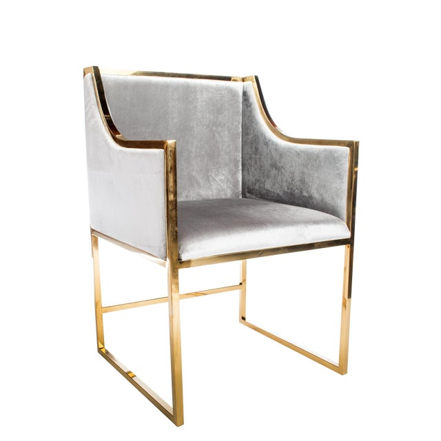 Modern Erin Chrome Gold Dining Chair For Sale - Image 3 of 4
