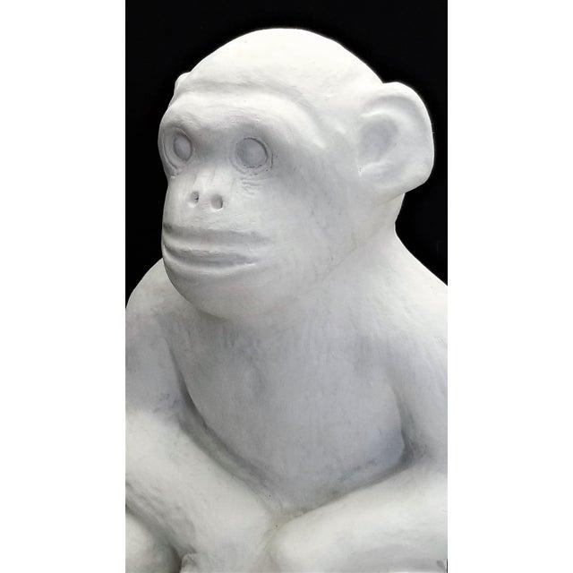Mid-Century Modern Vintage White Cement Monkey Sculpture Doorstop - Palm Beach Boho Chic Mid Century Modern Animal For Sale - Image 3 of 10