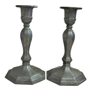 1950s Vintage Gorham Pewter Candle Holders- A Pair For Sale