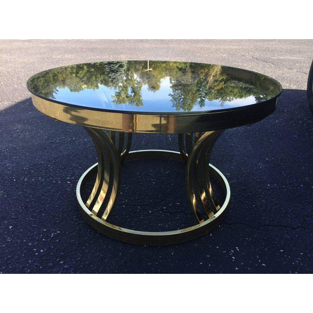 Milo Baughman Milo Baughman Brass & Smoked Glass Round Coffee Table For Sale - Image 4 of 10