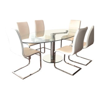 Glass Dining Table & White Chair Dining Set For Sale