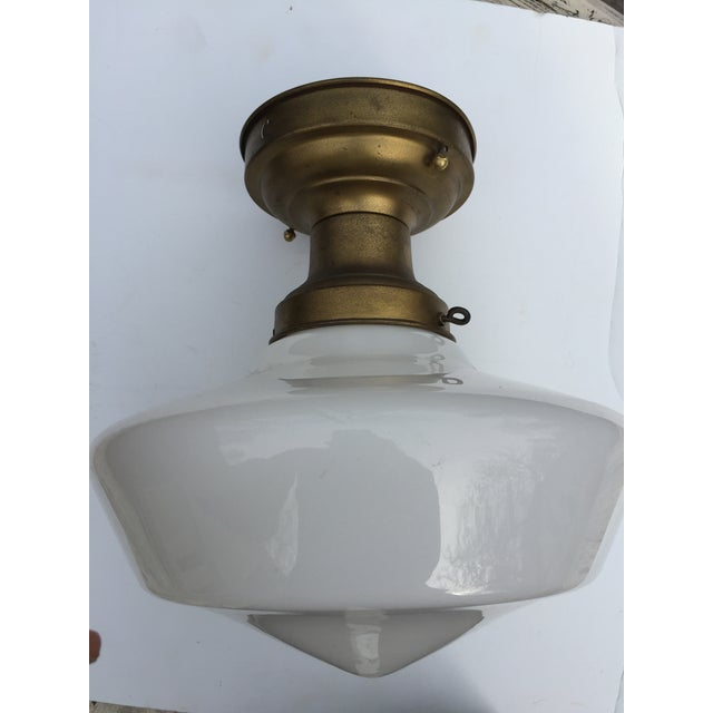 American Vintage Brass Flushmount Ceiling Fixture For Sale - Image 3 of 10