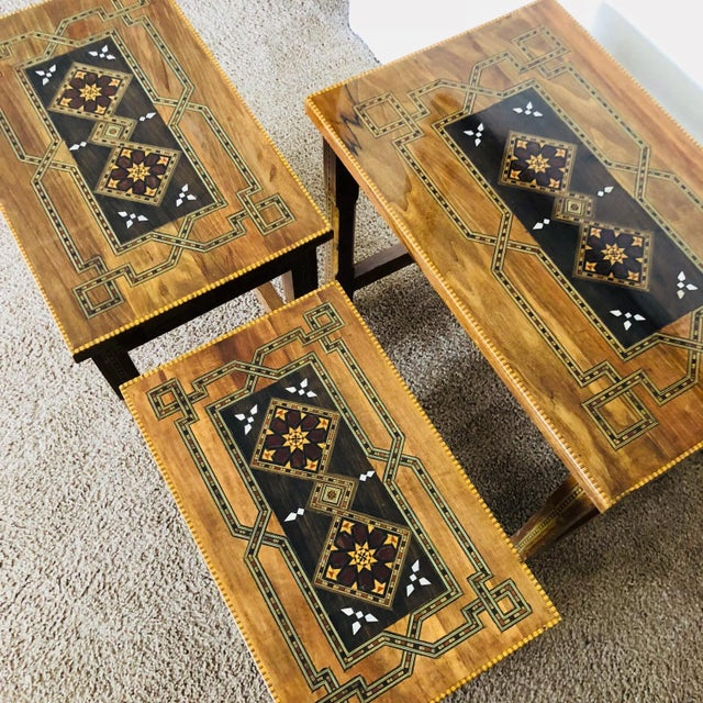 1990s Mosaic Inlay Syrian Walnut Nesting Tables - Set of 3 For Sale - Image 4 of 7