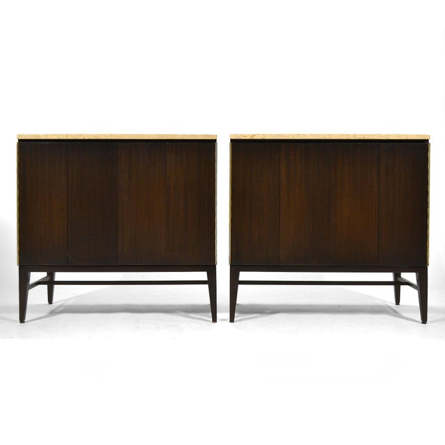 This pair of stunning McCobb cabinets by Calvin have a rich, dark finish on the mahogany cases and are topped with Italian...