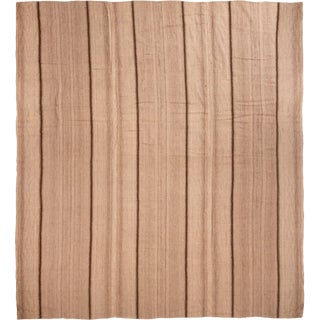 Taupe Striped Wool Kilim Rug - 10′7″ × 11′8″ For Sale
