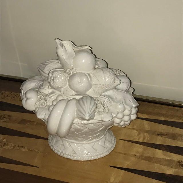 White Italian White Ceramic Fruit Basket Centerpiece For Sale - Image 8 of 12
