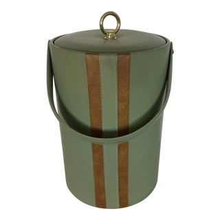 Georges Briard Padded Green and Wood Grain Vinyl Ice Bucket With Ice Tongs For Sale