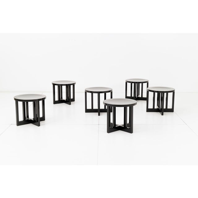 Set of six Richard Meier Model 820 low stools for Knoll. Laminated hard maple veneers and solid hard maple. Mortise and...