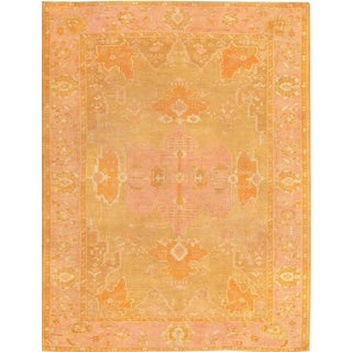 Early 20th Century Antique Green Turkish Oushak Rug- 9′4″ × 12′ For Sale
