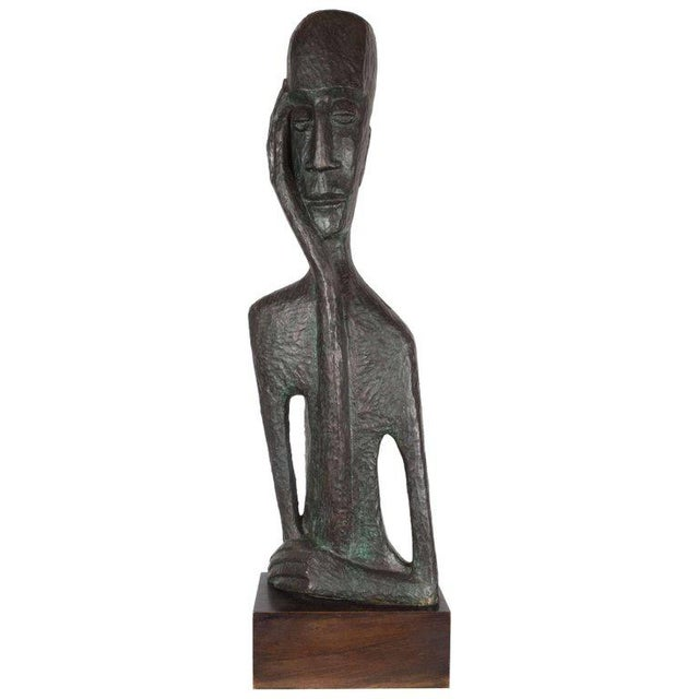 Signed Mid Century Modern Large Scale Patinated Bronze Sculpture For Sale - Image 10 of 10
