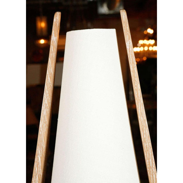 Wishbone Table Lamp in Ceruse Oak For Sale In Los Angeles - Image 6 of 7