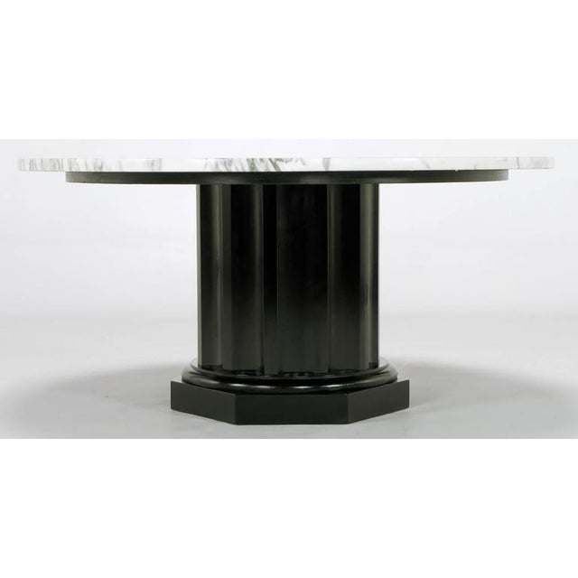 White Carrara Marble Coffee Table with Ebonized Fluted Wood Base - Image 5 of 7